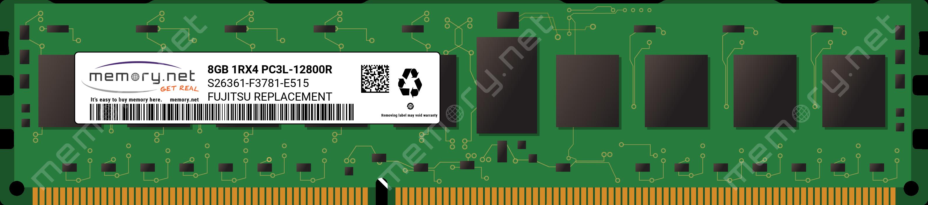 SAMSUNG 8GB PC3L-12800R DDR3-1600MHZ ECC Registered 1.35V RDIMM M393B1G70BH0-YK0